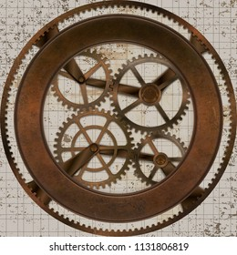 Vintage Looking 3D Illustration of Rusty Gears on Distressed Background