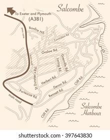 vintage map of Salcombe,Devon,UK.
