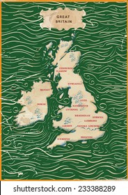 Vintage Map of the United Kingdom and Ireland.