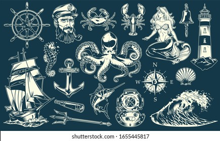 Vintage maritime and nautical elements collection with sea animals sailor mermaid marine objects and accessories isolated illustration