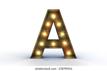 Vintage marquee light A alphabet sign, typography isolated on white background