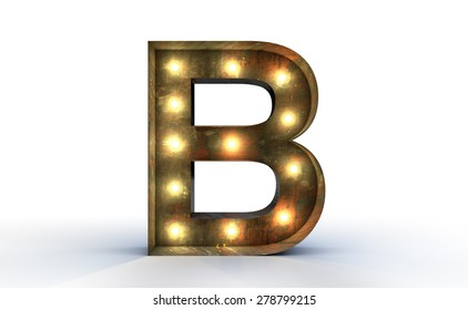 Vintage marquee light B alphabet sign, typography isolated on white background