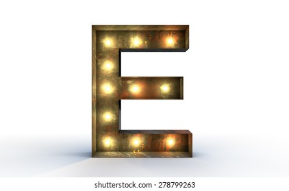 Vintage marquee light D alphabet sign, typography isolated on white background