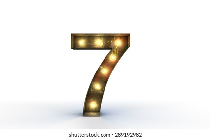 Vintage marquee light number 7, seven sign, typography isolated