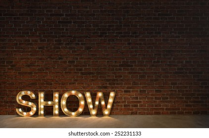 Vintage marquee light show sign, typography on brick wall 3d render