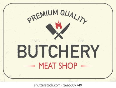 Vintage meat shop logo with meat knives. Logo template for meat business - farmer shop, market or design logo