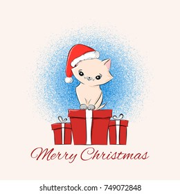vintage merry christmas card design template cute kitten in santa red hat and present gift