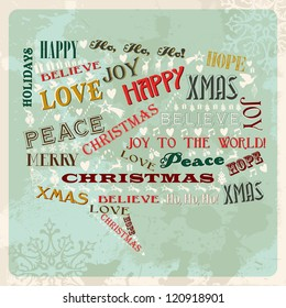 vintage merry christmas concept words and icons in social bubble shape
