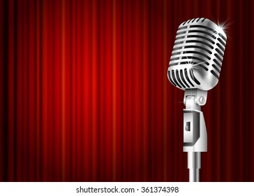 Vintage metal microphone against red curtain backdrop. mic on empty theatre stage, art image illustration. stand up comedian night show or karaoke party background . retro design Raster version