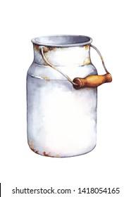Vintage metal milk jug. Watercolor illustration, isolated on white background