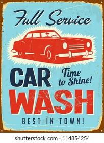 Vintage metal sign - Car Wash - JPG Version