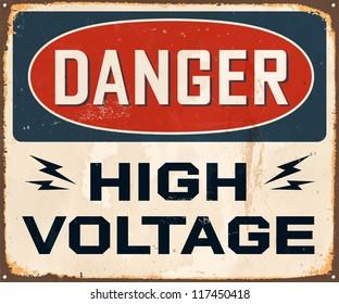 Vintage Metal Sign - Danger High Voltage - JPG version