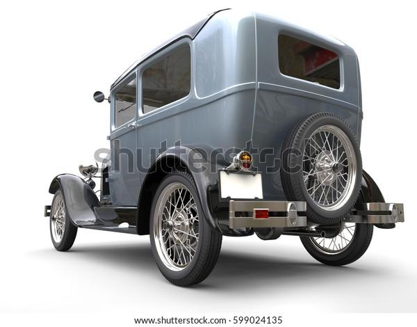 Vintage metallic beautiful oldtimer car - back angled view - 3D Render