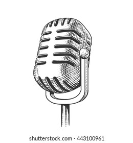 Vintage microphone hand drawn engraving style raster illustration. Scratch board imitation.