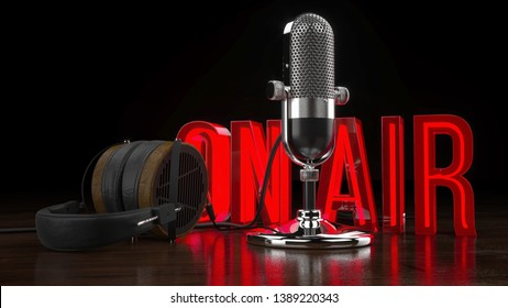 """Vintage Microphone and Headphones with """"On Air"""" Light Sign 3D Rendering"""