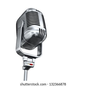 Vintage microphone - isolated on white background