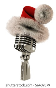 Vintage microphone isolated WITH SANTA CLAUS HAT