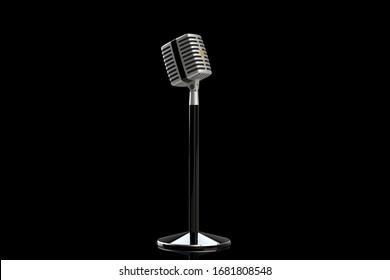 Vintage microphone on a black background. 3D render