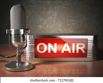 Vintage microphone with signboard on air. Broadcasting radio station concept. 3d illustration