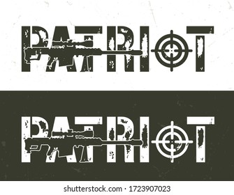 Vintage military and army horizontal template with sniper rifle and Patriot inscription illustration