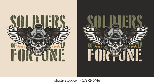 Vintage military colorful badge with soldier skull in modern winged helmet isolated illustration