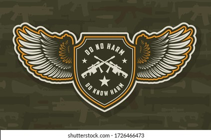 Vintage military colorful winged badge with crossed sniper rifles on weapons background isolated  illustration