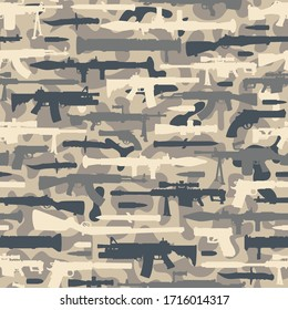 Vintage military seamless pattern with rocket launchers bazooka machine gun assault and sniper rifles pistols knives bullets silhouettes illustration