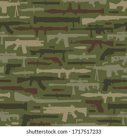 Vintage military weapons seamless pattern with rocket launcher bazooka automatic and sniper rifles knife pistols machine gun on green background illustration