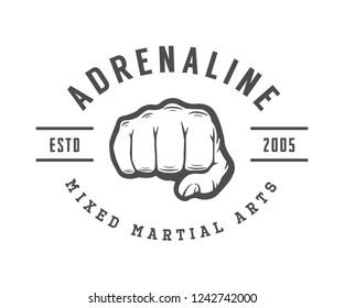 Vintage mixed martial arts logo, badge or emblem. Illustration.