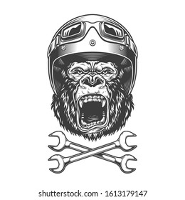 Vintage monochrome angry gorilla head in motorcycle helmet and goggles with crossed wrenches isolated  illustration