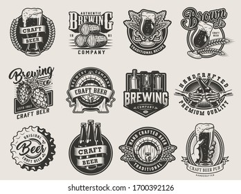 Vintage monochrome beer designs collection with brewing labels emblems prints and badges on light background isolated illustration