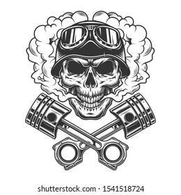 Vintage monochrome biker skull with crossed engine pistons in smoke cloud isolated illustration