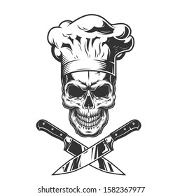 Vintage monochrome chef skull with crossed knives isolated  illustration