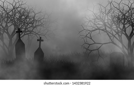 Vintage monochrome colors tone of old, horror and scary cemetery covered by mist illustration design background.