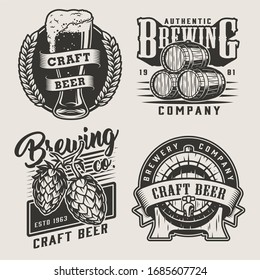Vintage monochrome craft beer badges with wooden barrels hop cones wheat ears and beer glass isolated illustration