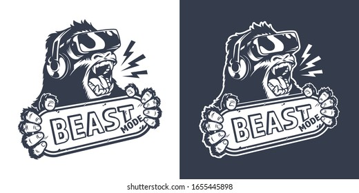 Vintage monochrome gaming logo with angry gorilla in virtual reality headset holding nameplate with Beast mode inscription isolated  illustration