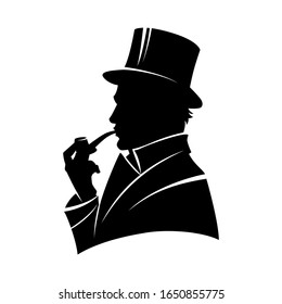 Vintage monochrome gentleman silhouette in top hat smoking pipe isolated  illustration