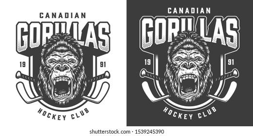 Vintage monochrome hockey club emblem with ferocious gorilla head mascot and crossed sticks isolated illustration