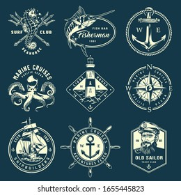 Vintage monochrome marine labels with sea creatures poseidon tridents ship wheel anchor navigational compass sailor lighthouse isolated  illustration
