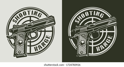 Vintage monochrome military print with pistol and gun sight isolated  illustration