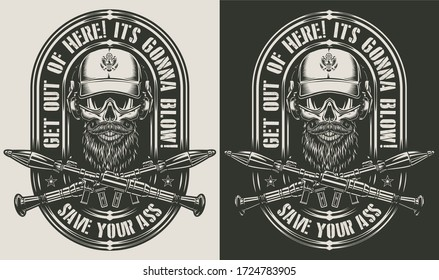 Vintage monochrome military print with special forces soldier skull in cap and crossed rocket launchers isolated illustration