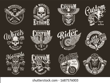 Vintage monochrome motorcycle prints with motorbike parts chopper biker and motorcyclist skulls eagle fiery moto helmet and winged wheel isolated illustration