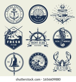 Vintage monochrome nautical emblems with anchor seahorse seashell swordfish ship wheel bell sea wave lobster isolated illustration