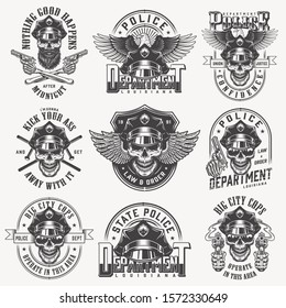 Vintage monochrome police labels set with skulls in policeman hat eagle wings pistols crossed batons isolated illustration