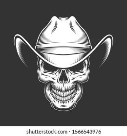 Vintage monochrome skull in cowboy hat isolated illustration