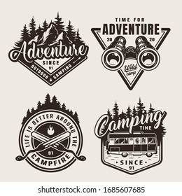 Vintage monochrome summer adventure emblems with mountains forest binoculars crossed skewers motorhome isolated illustration