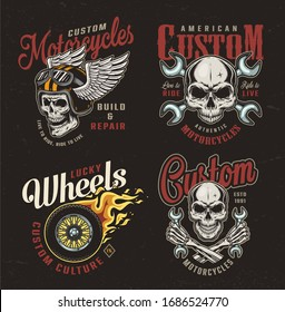 Vintage motorcycle colorful emblems with motorcyclist skulls crossed wrenches fiery motorbike wheel winged moto helmet isolated illustration