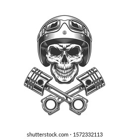 Vintage motorcycle skull in moto helmet with crossed engine pistons in monochrome style isolated illustration