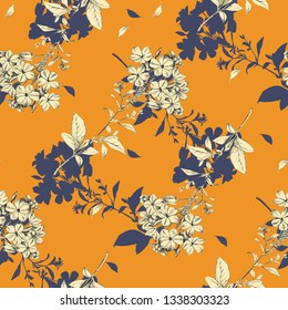 Vintage Myosotis flowers sketch graphic illustration