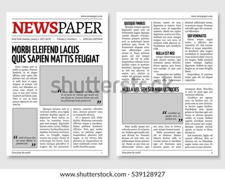 Vintage Newspaper Journal Template Paper Tabloid On Newsprint Reportage Information Illustration